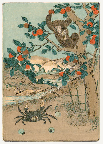 battle of crab and monkey