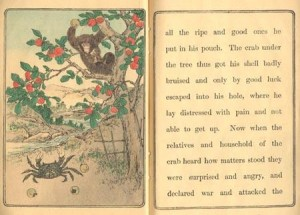 "Illustration from ""The Monkey and the Crab"" story"