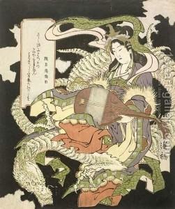 Benzaiten with a sea dragon